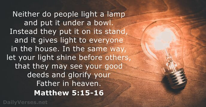 Matthew 5 15 16 Bible Verse Of The Day Dailyverses Net