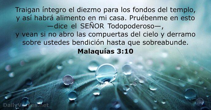Malaquías 3:10 - Versículo de la Biblia del día