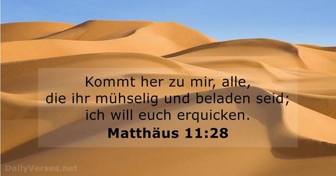 Matthäus 11:28 - Bibelvers des Tages - DailyVerses.net