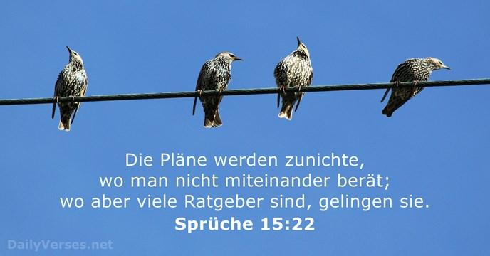 29. Mai 2015   Bibelvers des Tages   Sprüche 15:22   DailyVerses.net