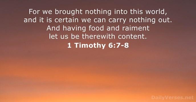 1 Timothy 6:7-8