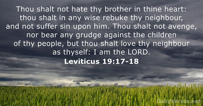 Thou shalt not hate thy brother in thine heart: thou shalt in… Leviticus 19:17-18