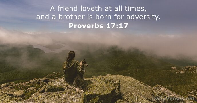 A friend loveth at all times, and a brother is born for adversity. Proverbs 17:17