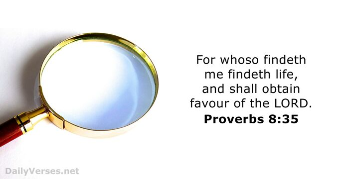For whoso findeth me findeth life, and shall obtain favour of the Lord. Proverbs 8:35