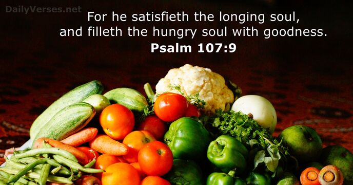 For he satisfieth the longing soul, and filleth the hungry soul with goodness. Psalm 107:9