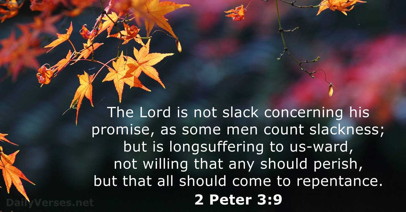 2 Peter 3:9 - KJV - Bible verse of the day - DailyVerses.net