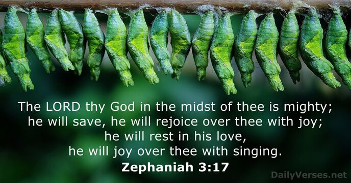 The Lord thy God in the midst of thee is mighty; he… Zephaniah 3:17