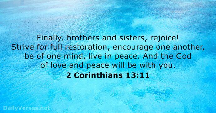 2 Corinthians 13:11 - Bible ve...