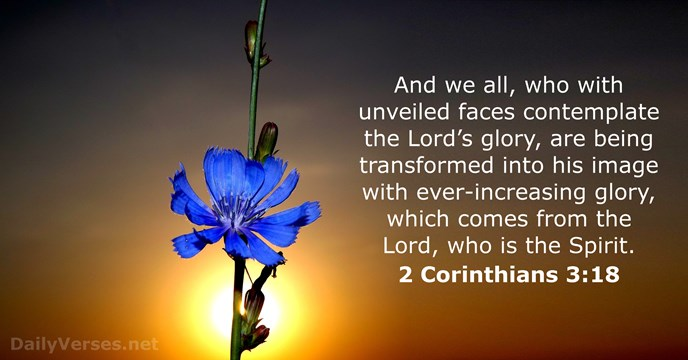 And we all, who with unveiled faces contemplate the Lord's glory, are… 2 Corinthians 3:18