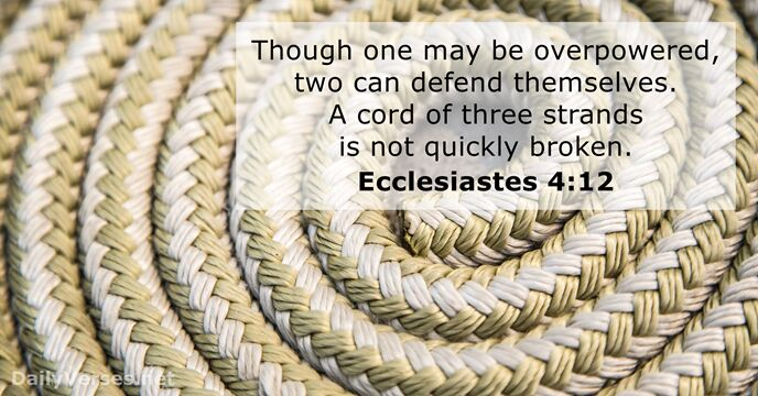 Though one may be overpowered, two can defend themselves. A cord of… Ecclesiastes 4:12