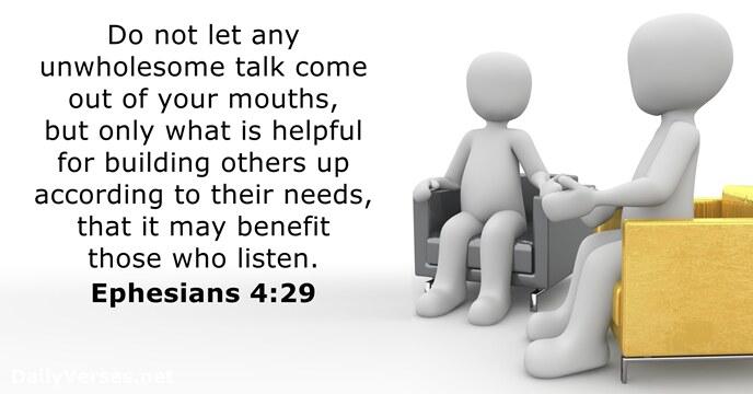 Ephesians 4:29 - KJV - Bible verse of the day - DailyVerses net