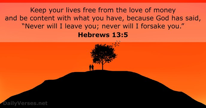 Hebrews 13:5 - KJV - Bible verse of the day - DailyVerses net
