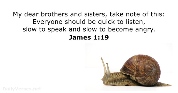 My dear brothers and sisters, take note of this: Everyone should be… James 1:19