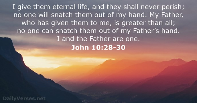 I give them eternal life, and they shall never perish; no one… John 10:28-30