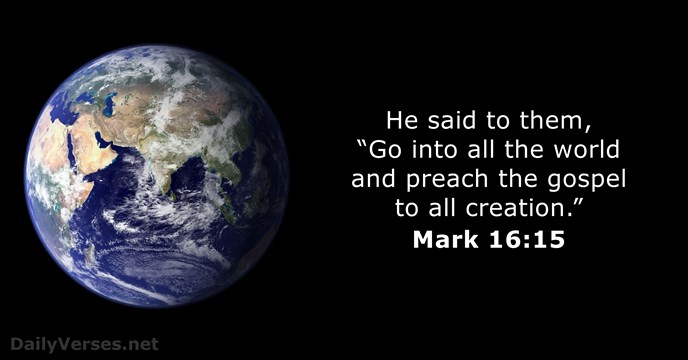 Mark 16:15 - Bible verse of the day - DailyVerses.net