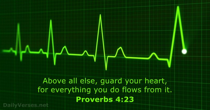Above all else, guard your heart, for everything you do flows from it. Proverbs 4:23