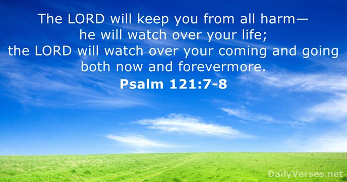 The Lord will keep you from all harm— he will watch over… Psalm 121:7-8