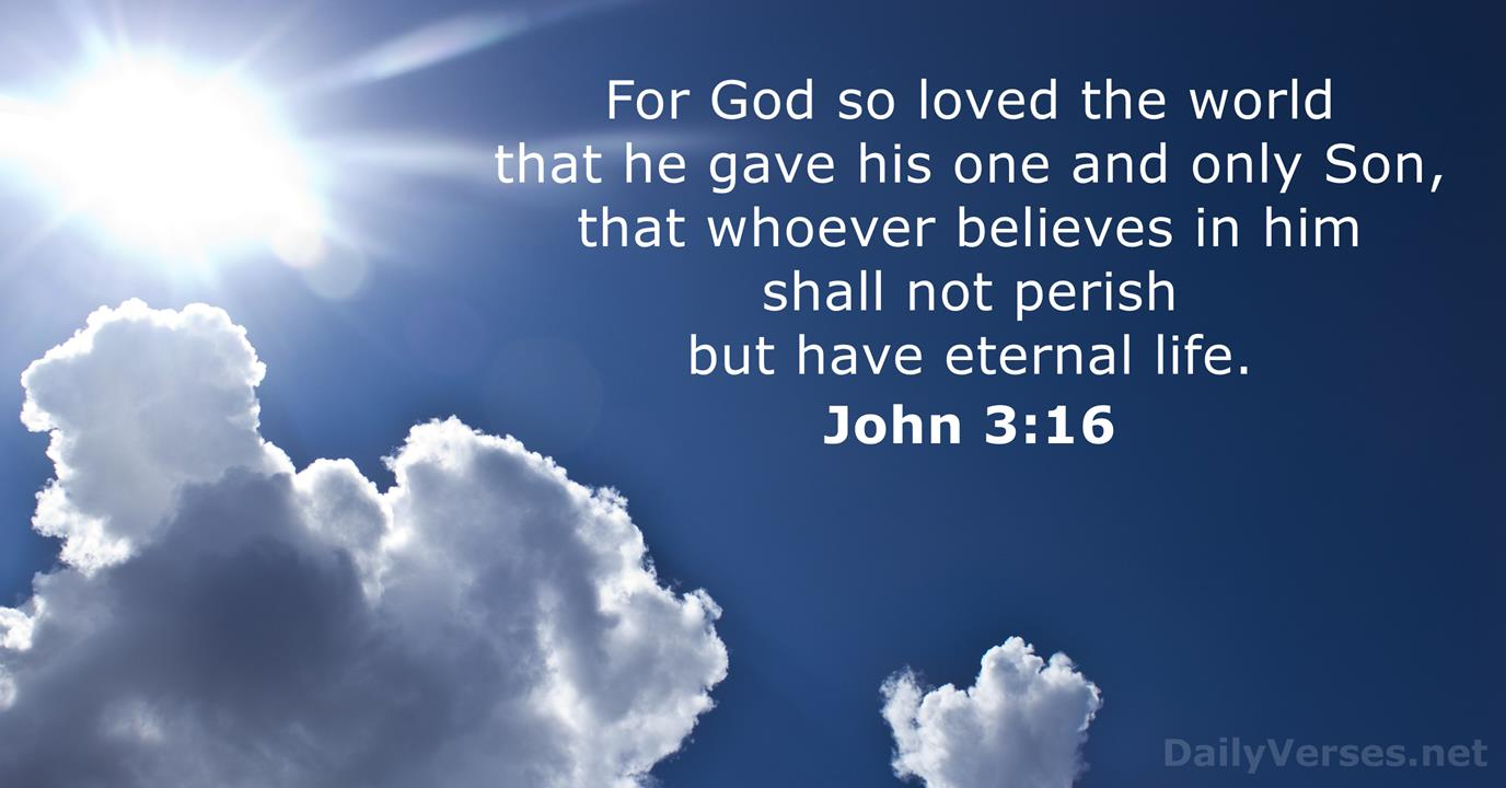 John 3:16 - Bible verse of the day - DailyVerses.net
