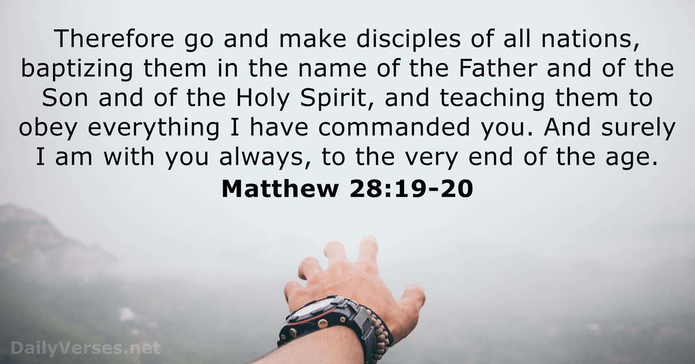 December 5, 2017 - Bible verse of the day - Matthew 28:19-20 -  DailyVerses.net