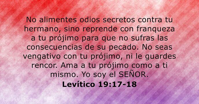 Levítico 19:17-18 - Versículo de la Biblia del día