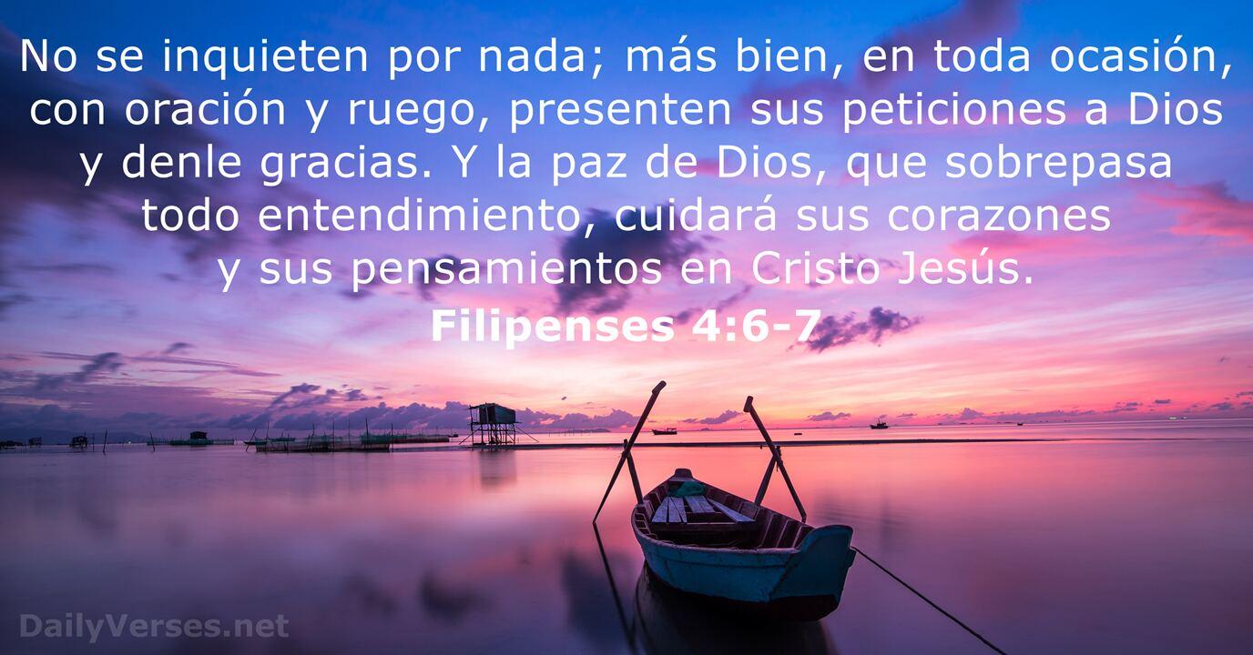 Filipenses 4:6-7 - Versículo de la Biblia del día - DailyVerses.net