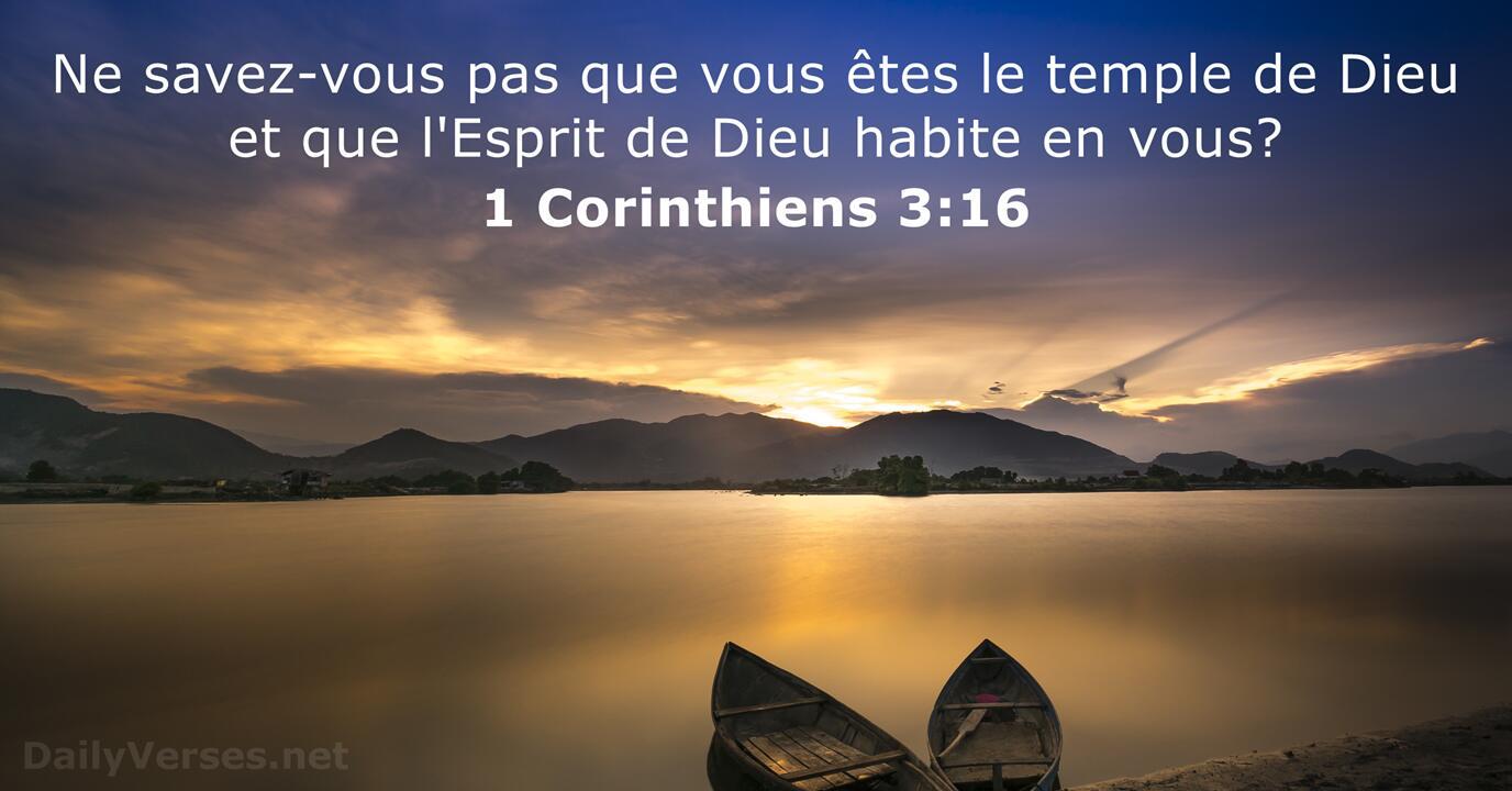 1 Corinthiens 3:16 - Verset Biblique du Jour - DailyVerses.net