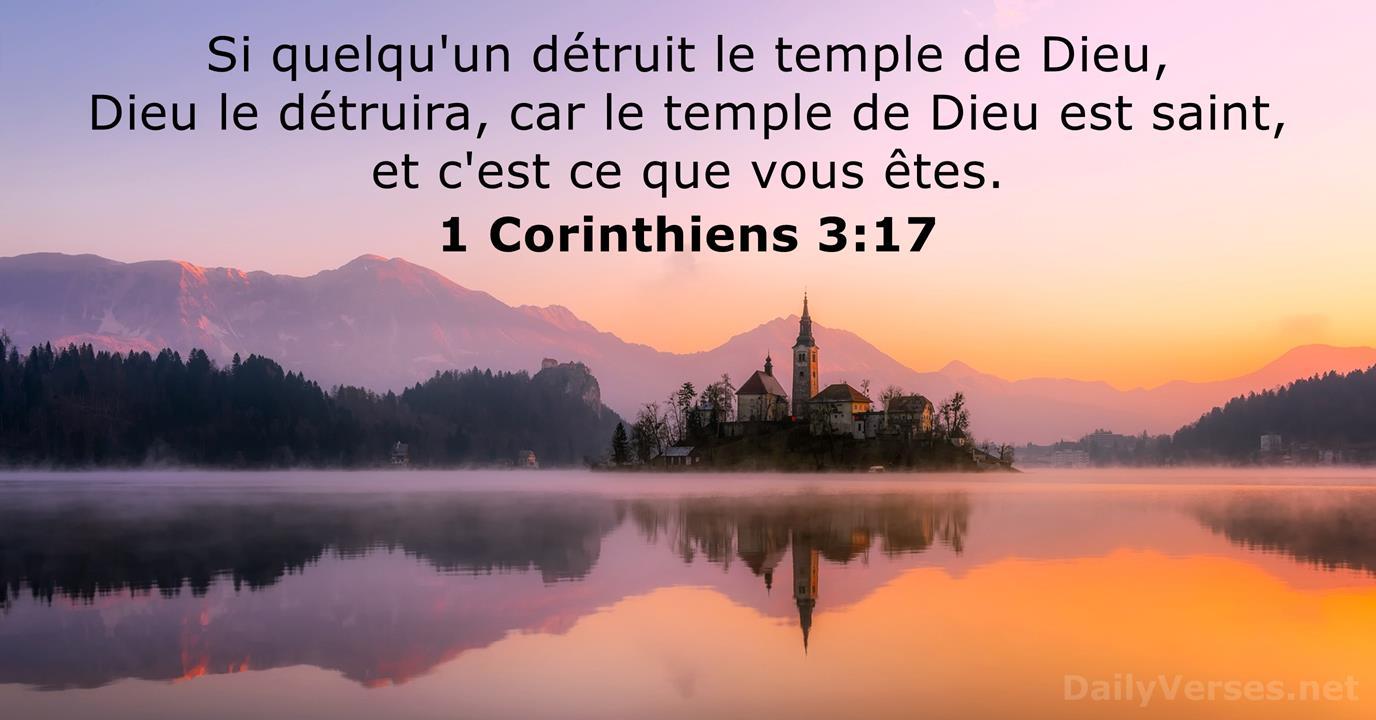 1 Corinthiens 3:17 - Verset Biblique du Jour - DailyVerses.net