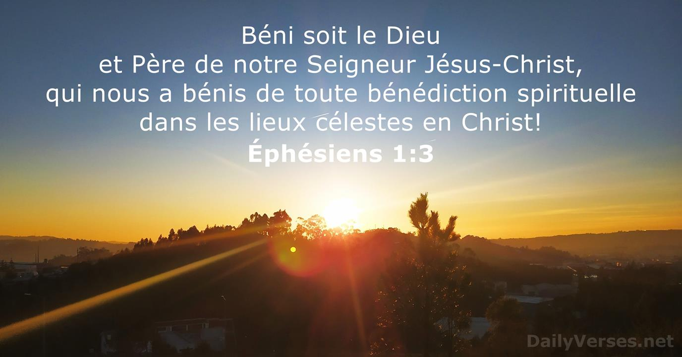 18 avril 2021 - Verset Biblique du Jour - Éphésiens 1:3 - DailyVerses.net